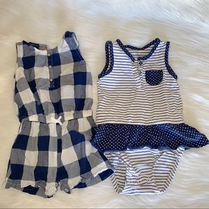 Carter's Blue & White Rompers 18M